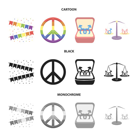 Flags, rainbow, emblem, rings. Gay set collection icons in cartoon,black,monochrome style vector symbol stock illustration web.