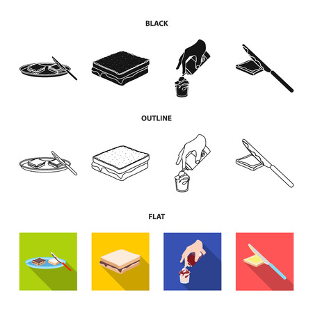 Dessert with cream, a sandwich and other food. Food set collection icons in black,flat,outline style vector symbol stock illustration web.