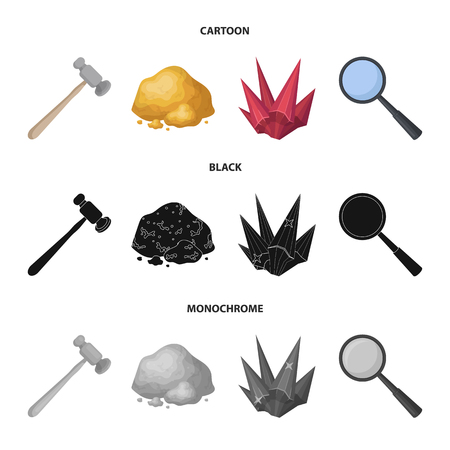 A jeweler hammer, a magnifier, a copper ore, a crystal. Precious minerals and a jeweler set collection icons in cartoon,black,monochrome style vector symbol stock illustration web. Stock Photo