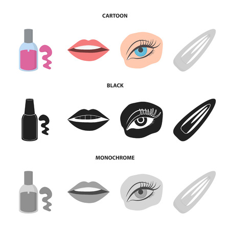 Nail polish, tinted eyelashes, lips with lipstick, hair clip.Makeup set collection icons in cartoon,black,monochrome style vector symbol stock illustration web. Stock fotó - 105228679