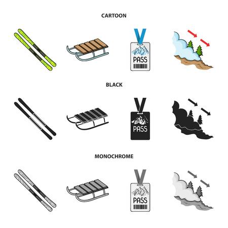 Ski, sled, lifeguard badge, badge avalanche. Ski resort set collection icons in cartoon,black,monochrome style vector symbol stock illustration web. Stock Photo