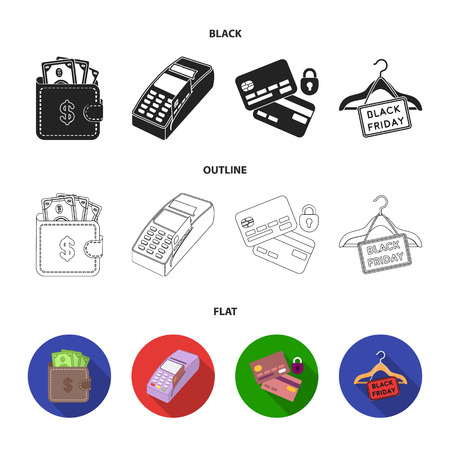 Purse, money, touch, hanger and other equipment. E commerce set collection icons in black,flat,outline style vector symbol stock illustration web.