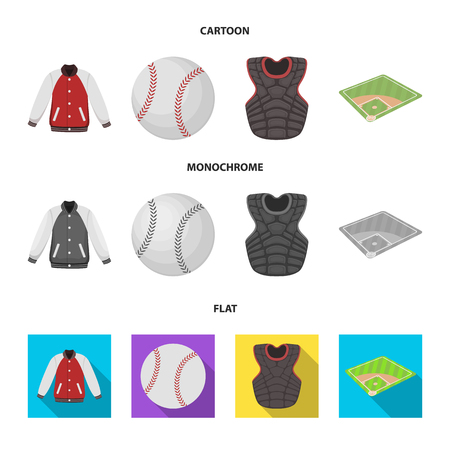 Playground, jacket, ball, protective vest. Baseball set collection icons in cartoon,flat,monochrome style vector symbol stock illustration .