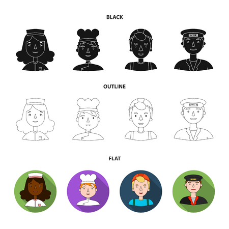 A nurse, a cook , a taxi . People of different professions set collection icons in black,flat,outline style vector symbol stock illustration .