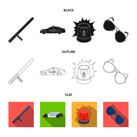 Police baton, auto, flasher, glasses.Police set collection icons in black,flat,outline style vector symbol stock illustration . Ilustração