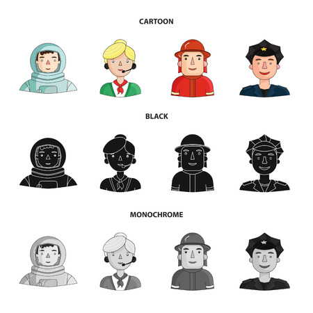 An astronaut in a spacesuit, a co-worker with a microphone, a fireman in a helmet, a policeman with a badge on his cap. People of different professions set collection icons in cartoon,black,monochrome style vector symbol stock illustration .