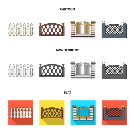 A fence of metal and bricks,wooden palisade. A different fence set collection icons in cartoon,flat,monochrome style vector symbol stock illustration web.