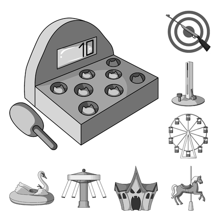 Amusement park monochrome icons in set collection for design. Equipment and attractions vector symbol stock  illustration. Standard-Bild