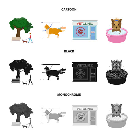 Walking with a dog in the park, combing a dog, a veterinarian office, bathing a pet. Vet clinic and pet care set collection icons in cartoon,black,monochrome style vector symbol stock illustration web.