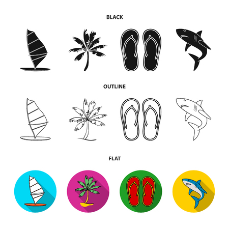 Board with a sail, a palm tree on the shore, slippers, a white shark. Surfing set collection icons in black,flat,outline style vector symbol stock illustration .