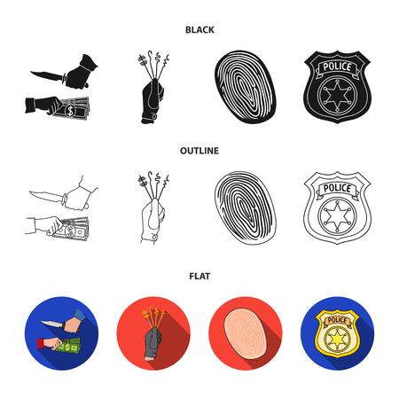 Robbery attack, fingerprint, police officer badge, pickpockets.Crime set collection icons in black,flat,outline style vector symbol stock illustration . Illustration