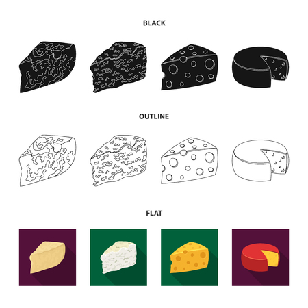 Parmesan, roquefort, maasdam, gauda.Different types of cheese set collection icons in black,flat,outline style vector symbol stock illustration . Stock fotó - 105280754