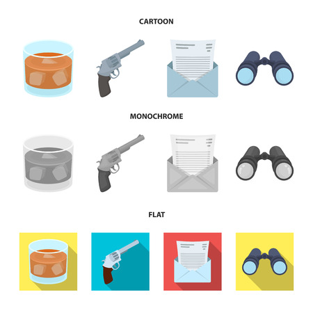 A glass of whiskey, a gun, binoculars, a letter in an envelope.Detective set collection icons in cartoon,flat,monochrome style vector symbol stock illustration . Stock Photo
