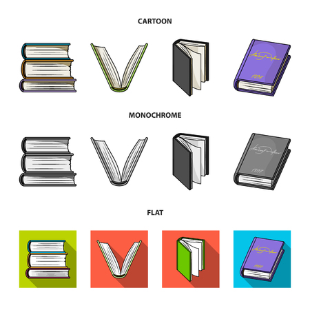 Various kinds of books. Books set collection icons in cartoon,flat,monochrome style vector symbol stock illustration .