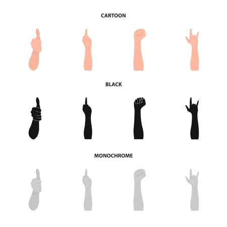 Sign Language cartoon,black,monochrome icons in set collection for design.Emotional part of communication vector symbol stock  illustration.