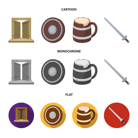 A gate to the treasure, a shield for protection, a mug with a bra, a sword. Vikings set collection icons in cartoon,flat,monochrome style vector symbol stock illustration .
