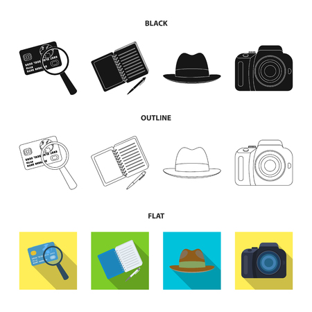 Camera, magnifier, hat, notebook with pen.Detective set collection icons in black,flat,outline style vector symbol stock illustration .