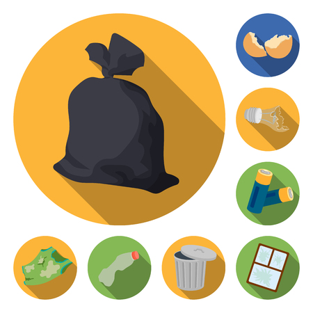 Garbage and waste flat icons in set collection for design. Cleaning garbage vector symbol stock  illustration. 向量圖像