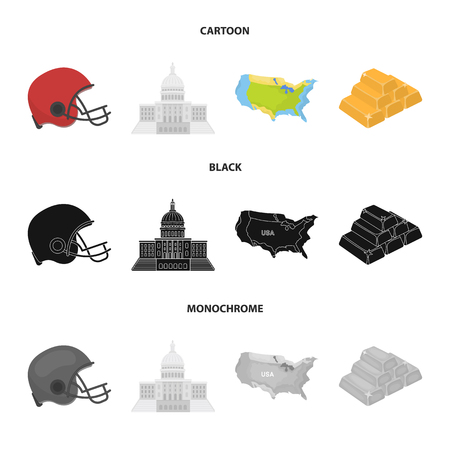 Football player helmet, capitol, territory map, gold and foreign exchange. USA country set collection icons in cartoon,black,monochrome style vector symbol stock illustration .