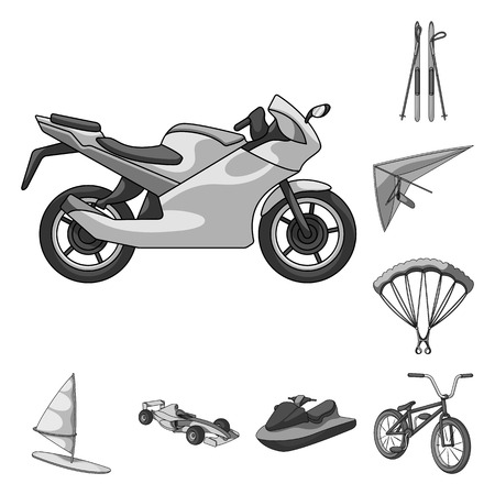 Extreme sport monochrome icons in set collection for design.Different kinds of sports vector symbol stock web illustration.