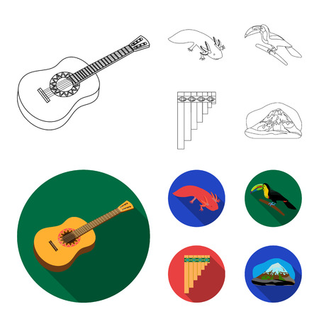 Sampono Mexican musical instrument, a bird with a long beak, Orizaba is the highest mountain in Mexico, axolotl is a rare animal. Mexico country set collection icons in outline,flat style vector symbol stock illustration web.