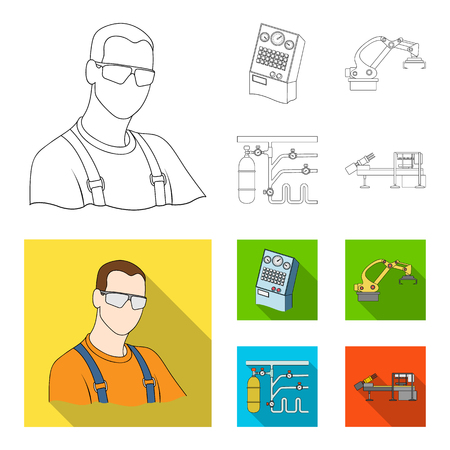 Modern equipment and other web icon in outline,flat style.Machine tools and equipment factory icons in set collection.