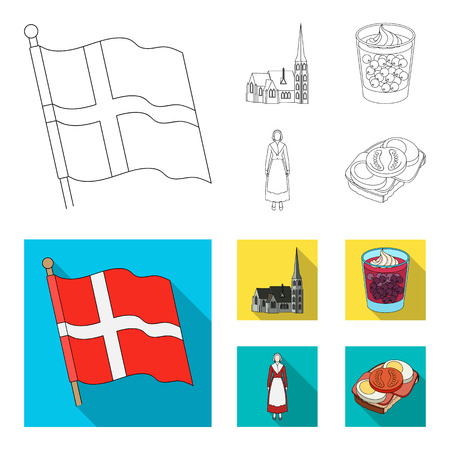 Flag, national, symbol, and other web icon in outline,flat style.Denmark,history, tourism, icons in set collection. Ilustracja