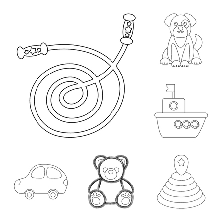 Children toy outline icons in set collection for design. Game and bauble vector symbol stock web illustration. Illustration
