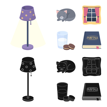 Sleeping cat, night outside the window, milk and biscuits, fairy tales. Rest and sleep set collection icons in cartoon,black style vector symbol stock illustration web.