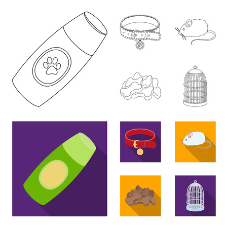 A collar, a forage, a toy, a cage and other products of the zoo store.Pet shop set collection icons in outline,flat style vector symbol stock illustration web. Çizim