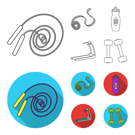 Measuring tape, water bottle, treadmill, dumbbells. Fitnes set collection icons in outline,flat style vector symbol stock illustration web.