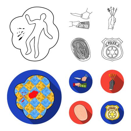 Robbery attack, fingerprint, police officer badge, pickpockets.Crime set collection icons in outline,flat style vector symbol stock illustration web. Illustration