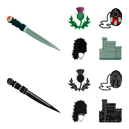 National Dirk Dagger, Thistle National Symbol, Sporran,glengarry.Scotland set collection icons in cartoon,black style vector symbol stock illustration web.