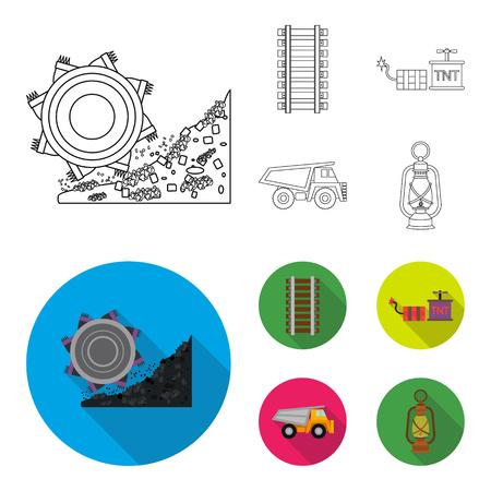 Ryllsy,vzryvchatka, dumper, lantern.Mine set collection icons in outline,flat style vector symbol stock illustration web.