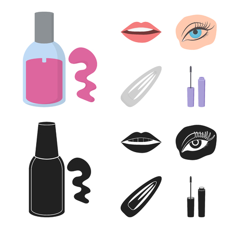 Nail polish, tinted eyelashes, lips with lipstick, hair clip.Makeup set collection icons in cartoon,black style vector symbol stock illustration web.