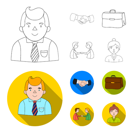 Businessman, handshake, portfolio, agreement.Business-conference and negotiations set collection icons in outline,flat style vector symbol stock illustration web.