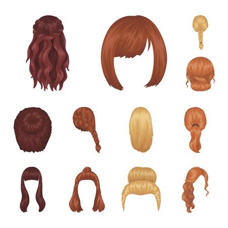 Iconos de dibujos animados de peinado femenino de colección set de diseño. Ejemplo elegante del web de la acción del símbolo del vector del corte de pelo.
