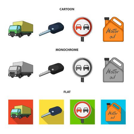 Truck with awning, ignition key, prohibitory sign, engine oil in canister, Vehicle set collection icons in cartoon,flat,monochrome style vector symbol stock illustration web. Vettoriali