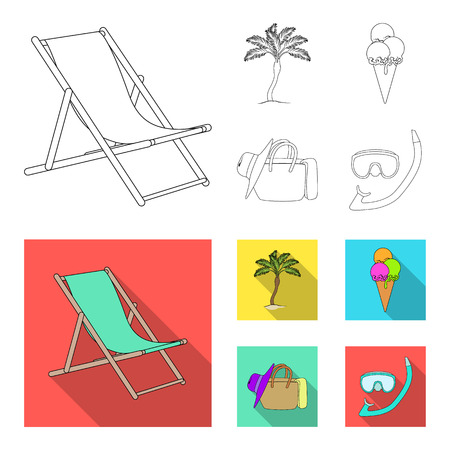 Beach, palm tree, ice cream.Summer vacation set collection icons in outline,flat style vector symbol stock illustration web.