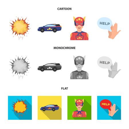 Explosion, fire, smoke and other web icon in cartoon,flat,monochrome style.Superman, superforce, cry, icons in set collection.
