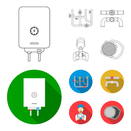 Boiler, plumber, ventils and pipes.Plumbing set collection icons in outline,flat style vector symbol stock illustration .