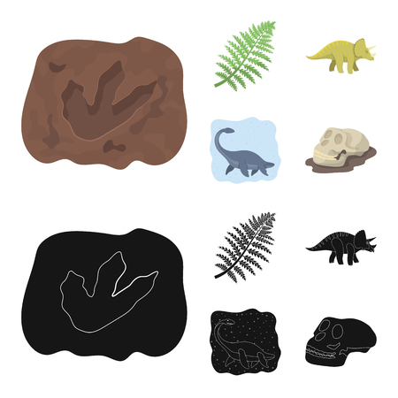 Sea dinosaur,triceratops, prehistoric plant, human skull. Dinosaur and prehistoric period set collection icons in cartoon,black style vector symbol stock illustration .