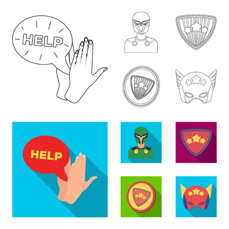 Man, mask, cloak, and other  icon in outline,flat style. Costume, superforce icons in set collection