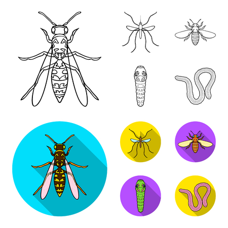 Worm, centipede, wasp, bee, hornet .Insects set collection icons in outline,flat style vector symbol stock illustration .