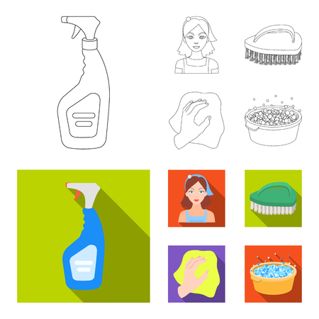 A cleaning woman, a housewife in an apron, a green brush, a hand with a rag, a blue wash hand basin with foam. Cleaning set collection icons in outline,flat style vector symbol stock illustration .