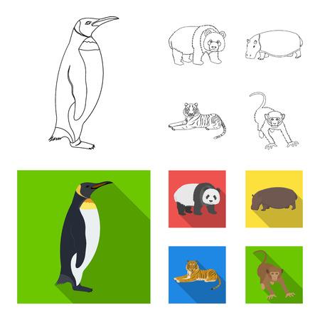 Bamboo bear, hippopotamus, wild animal tiger, monkey . Wild animal set collection icons in outline,flat style vector symbol stock illustration web.