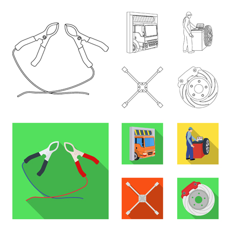 Wheel balancing, spanner and brake disc outline,flat icons in set collection for design.Car maintenance station vector symbol stock illustration web.