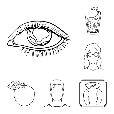 Diabetes outline icons in set collection for design. Treatment of diabetes vector symbol stock web illustration. Ilustracja