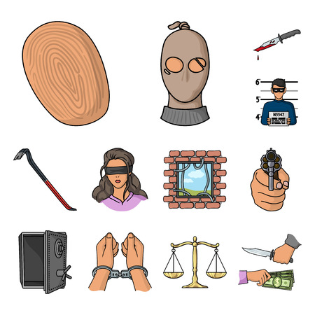 Verbrechens- und Bestrafungskarikaturikonen in der Satzsammlung für Design. Kriminelle Vektorsymbol-Lagerwebillustration.