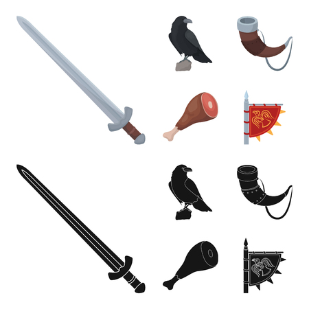 Sitting crow, horn with drink, ham, victory flag. Vikings set collection icons in cartoon,black style vector symbol stock illustration web.